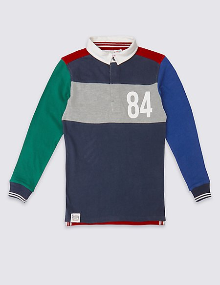 Pure Cotton Colour Block Rugby Top (3-14 Years)
