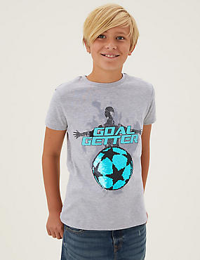 Cotton Football Sequin T-Shirt (6-16 Yrs)