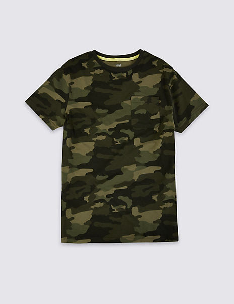 Pure Cotton Camo Print T-Shirt (3-16 Years)