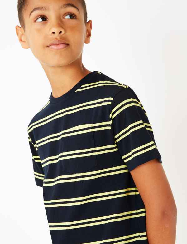 984a8306 Cotton Striped Pocket T-Shirt (3-16 Years)