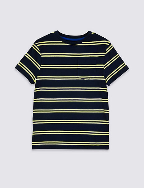 Cotton Striped Pocket T-Shirt (3-16 Years)