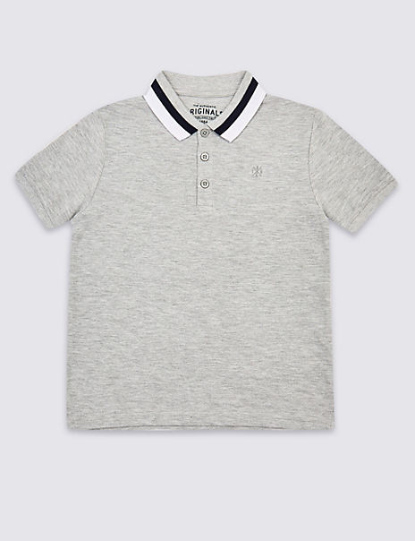 Polo Shirt with Striped Collar (3-16 Years)