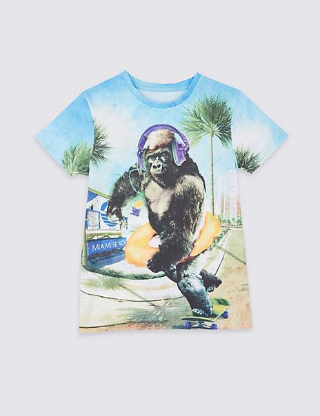 Gorilla Print T-Shirt (3-16 Years)
