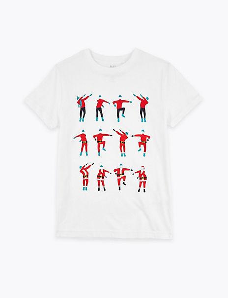 Festive Floss Print T-Shirt (3-16 Years)