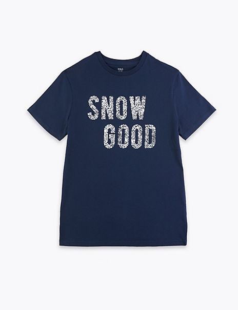 Cotton Snow Good Slogan T-Shirt (3-16 Years)
