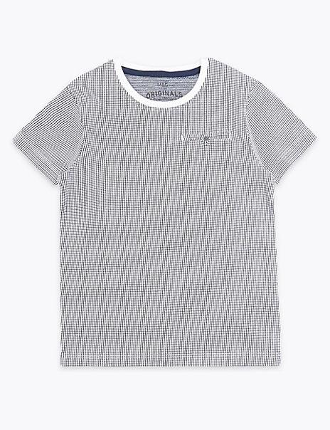 Grid Print T-Shirt (3-16 Years)