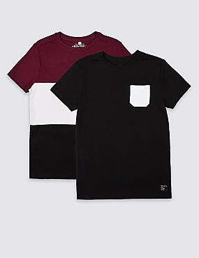 2 Pack Pure Cotton T-Shirts (3-16 Years)