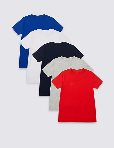 5 Pack Easy Dressing T-Shirts (1-16 Years)