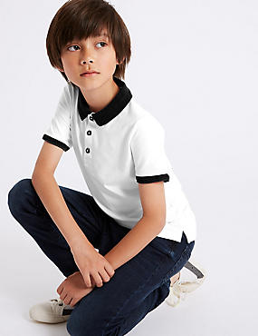Cotton Polo Shirt with Stretch (3-16 Years)