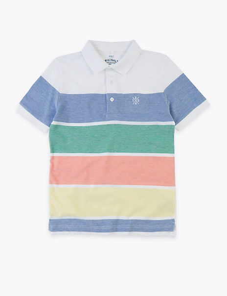 Pure Cotton Striped Polo Shirt (6-16 Years)