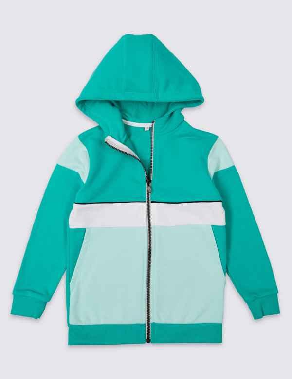 52c507c5346 Zipped Through Hooded Top (3-16 Years)