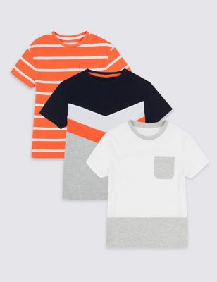 128ae196 3 Pack Pure Cotton T-Shirts (3-16 Years) £14.00 - £20.00