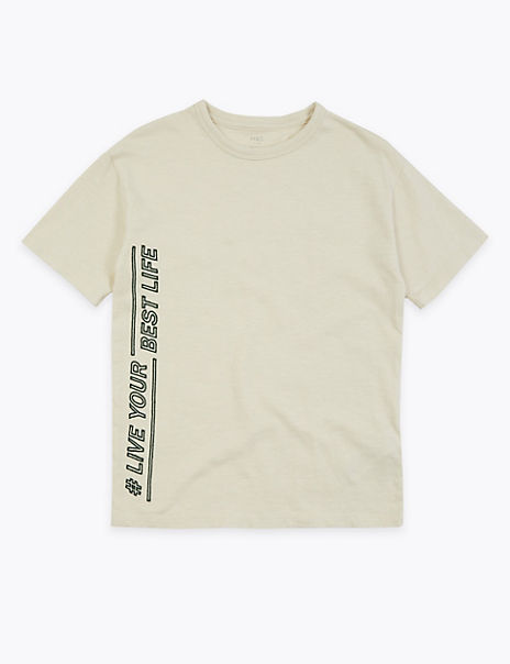 Cotton Live Your Best Life Slogan T-Shirt (3-16 Years)