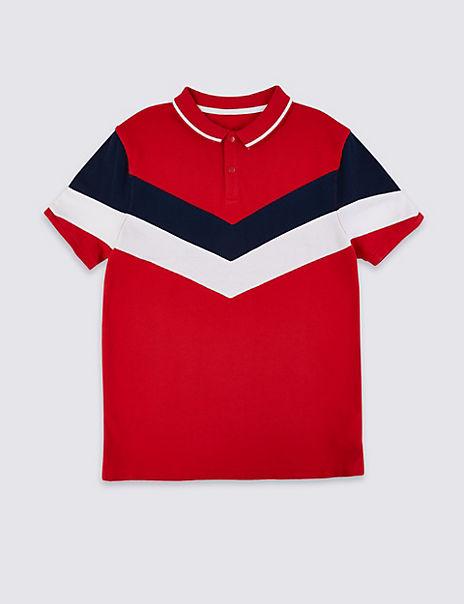 Pure Cotton Chevron Pattern Polo Shirt (3-16 Years)