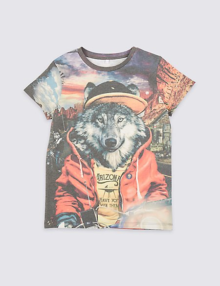 Cotton Rich Graphic T- Shirt (3-16 Years)