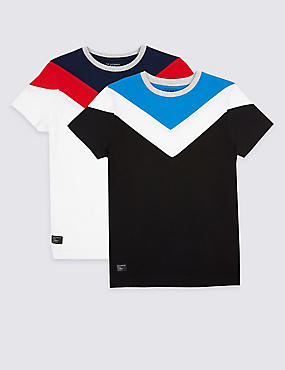 2 Pack Pure Cotton Colour Block Tops (3-16 Years)