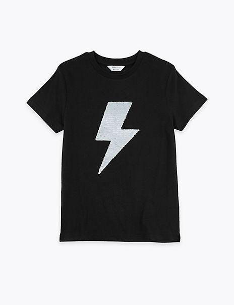 Cotton Sequin Lightning Bolt T-Shirt (3-16 Years)