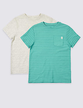2 Pack Cotton Rich T- Shirts (3-16 Years)