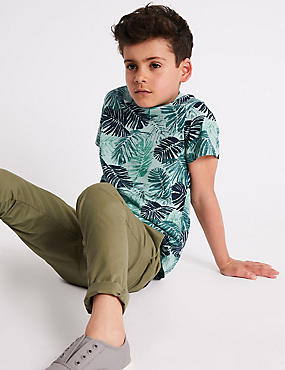 Pure Cotton Palm Print T-Shirt (3-16 Years)