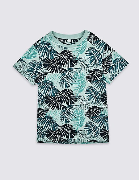 Pure Cotton Palm Print T-Shirt (3-16 Years)