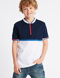 T87/2383I: Pure Cotton Polo Shirt (3-16 Years)