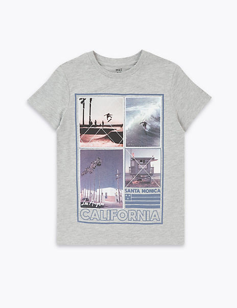 Cotton Rich Santa Monica Print T-Shirt (6-16 Yrs)