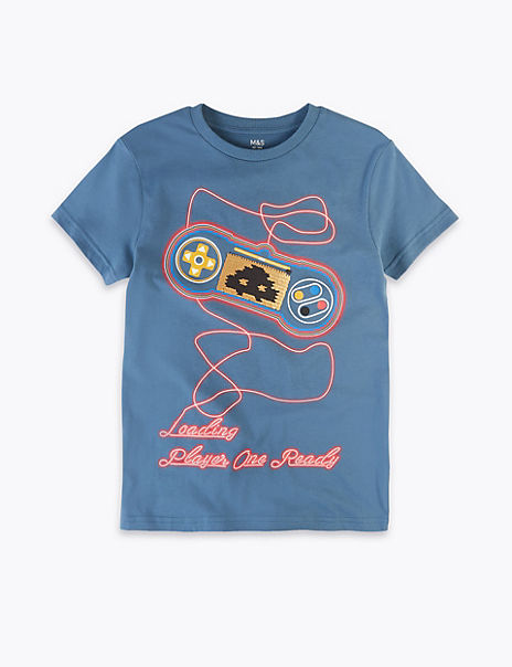 Pure Cotton Reversible Sequin Gamer T-Shirt (6-16 Yrs)