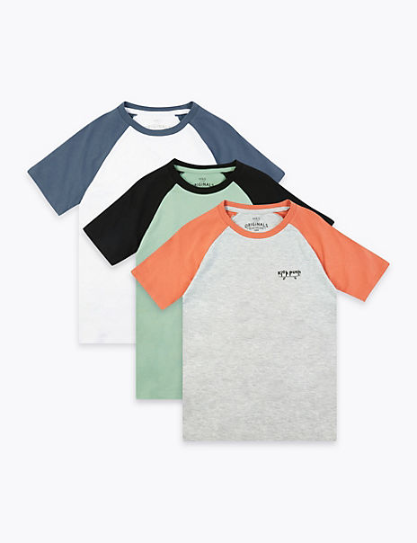 3 Pack Cotton Rich T-Shirts (6-16 Years)