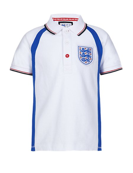 Pure Cotton Official England FA 3 Lions Boys Polo Shirt (5-14 Years)