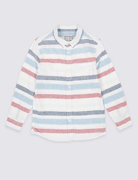 Cotton Blend Striped Shirt (3-16 Years)