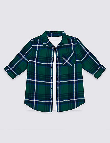 Pure Cotton Checked Shirt & T-Shirt (3-16 Years)
