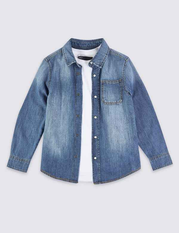 5b87bcdd3 Cotton Denim Shirt and T-Shirt Set (3-16 Years)