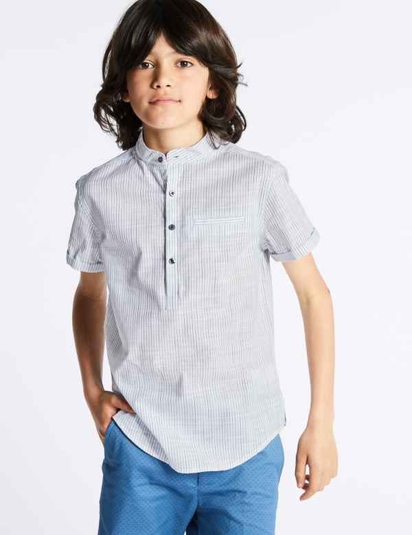 c7f52f6d Pure Cotton Popover Striped Shirt (3-16 Years)