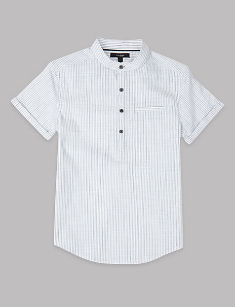 Pure Cotton Popover Striped Shirt (3-16 Years)
