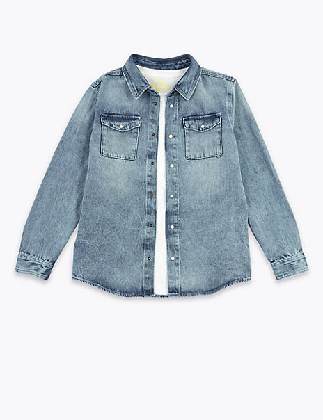Cotton Denim Shirt with T-Shirt (6-16 Years)
