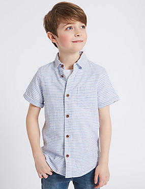 Linen Rich Pinstripe Shirt (3-16 Years)