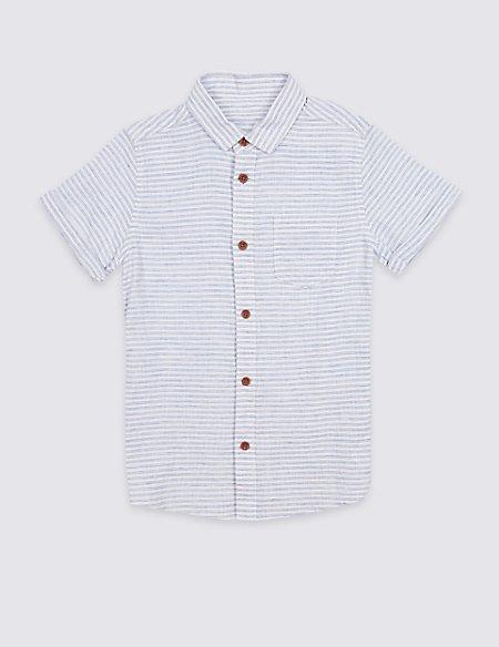 Linen Rich Pinstripe Shirt (3-16 Years)