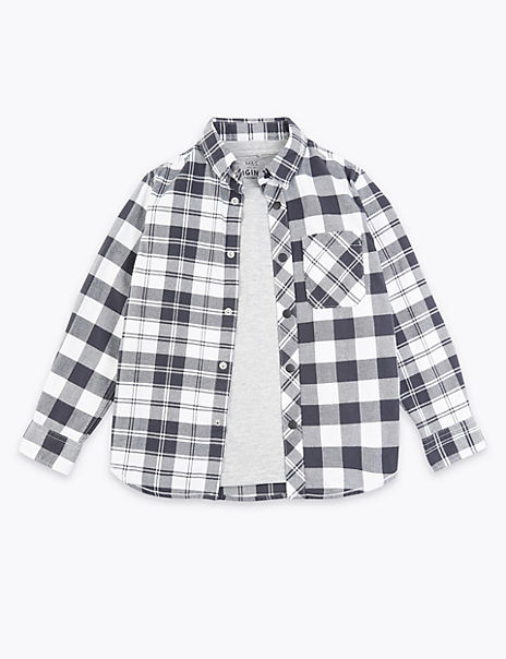 Checked Shirt With T-Shirt (3-16 Years)