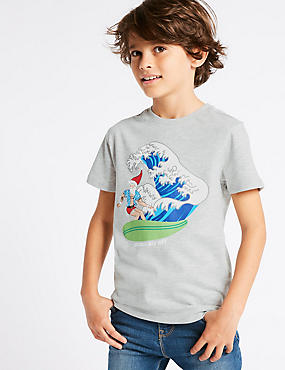 Cotton Rich T-Shirt (3-16 Years), MULTI, catlanding