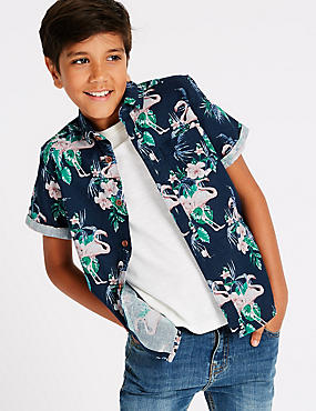Linen Rich Flamingo Print Shirt (3-16 Years)