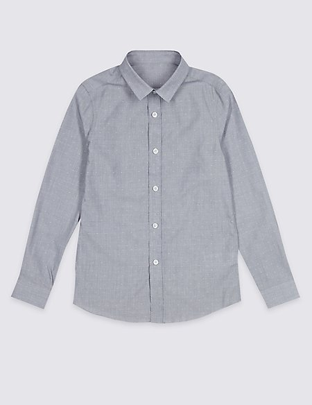Pure Cotton Textured Shirt (3-16 Years)