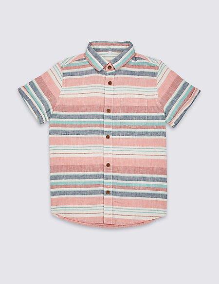 Linen Rich Striped Shirt (3-16 Years)