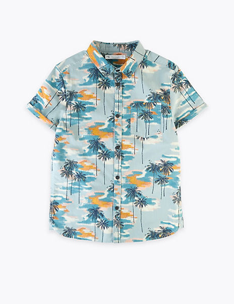 Pure Cotton Palm Tree Shirt (6-16 Years)