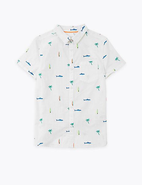 Pure Cotton Shark Print Shirt (6-16 Years)