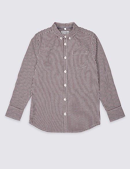 Pure Cotton Micro Gingham Shirt (3-16 Years)