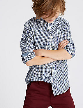 Pure Cotton Micro Gingham Shirt (3-16 Years)