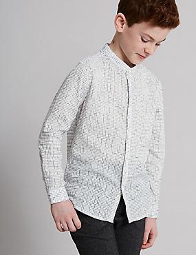 Pure Cotton Grid Grandad Shirt (3-16 Years)