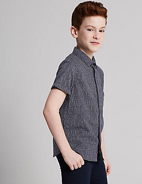 Pure Cotton Grid Print Shirt (3-16 Years)