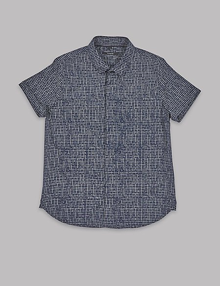 Pure Cotton Grid Print Shirt (3-16 Years)
