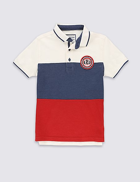Pure Cotton Striped Polo Shirt (5-14 Years)